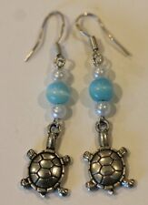 Sterling Silver Dangle Turtle Cats Eye Faux Pearl Earrings Hooks