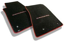 NEW! Ebony Front floor mats 2014-2015 Camaro Embroidered in Red with red binding