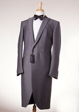 NWT $2995 OZWALD BOATENG Gray Wool-Mohair Frock Coat-Style Tuxedo Slim 46 R Suit