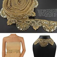 Hand Beaded Dress Bridal Border 9 YD Trim Ribbon Golden Craft Lace Zircon Pearls