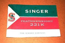 Comprehensive Instruction Manual CD for Singer Featherweight 221K Sewing Machine