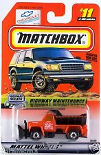 Matchbox MB 11 Highway Maintenance Truck With Plow Mint On Card 1999