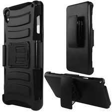 BLACK HYBRID COMBO ARMOR CASE HOLSTER Cover Phone Case for Sony Xperia Z3