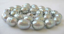 "P2939 - 17"" 13mm natural gray baroque freshwater pearl necklace - white GP clasp"