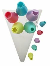 Reusable Silicone Piping Pastry Bag with 5-Decorating Piping Tips for Baking