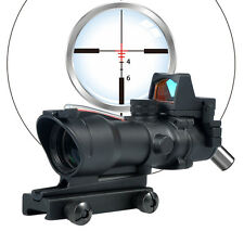 Woltis ACOG Style Red Fiber Illuminated BDC Reticle 4x Riflescope w/ RMR Red Dot