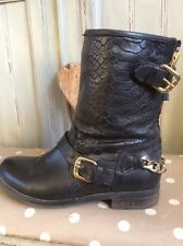 DUNE Biker Boots 5 , Quality Leather Designer Boots RRP £135 Harness Chain