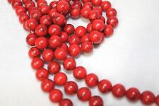 "10mm Howlite Red Turquoise Round Beads 15.5"" Strand"
