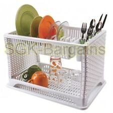 Plastic 2 Layer Tier Dish Drainer Rack Utensil Cutlery Kitchen Gift  White
