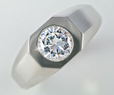 1 ct Men's Deco Style  Ring Top Vintage CZ Imitation Moissanite Simulant SS Sz 8