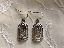 NEW Birdcage Earrings Silver Bird Trendy Cute Fashion Jewelry Boho Hippie