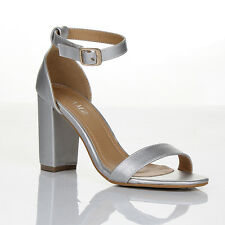 WOMENS BLOCK HEEL ANKLE STRAP SANDALS LADIES PEEP TOE STRAPPY PARTY SHOES 3 : 8