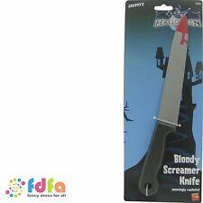 BLOOD STAINED SCREAMER LARGE PLASTIC KNIFE - 33cm / 13in - halloween fancy dress