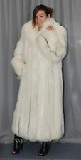 GORGEOUS WHITE SHADOW   FOX  FUR  COAT  SIZE M