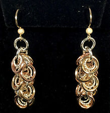 Handmade Chainmaille Tri-colored Sassy Swirl of Rings Earrings. 2 inches.