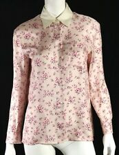 PRADA Pink Cherry Blossom Print Silk Long Sleeve Button-Front Blouse 44