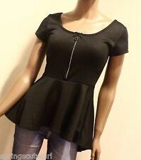 Rue 21 Black Sparkly Zipper Short Sleeve Size ~ Small Girl Teen