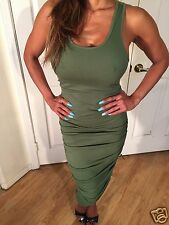 Sexy Khaki Green Ruched Racer Back Tank Casual Party Midi Dress L
