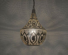 Handcrafted Silver Plated Moroccan Brass Hanging Lamp Ceiling Light Fixture