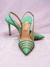 Etre 5094 Green Leather Slingback Stiletto Heels Sandals 39.5 / US 9.5
