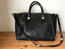 Zara Woman black leather Studded/chain Satchel tote handbag with shoulder strap