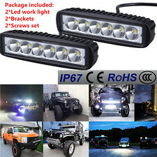 2x 18W flood 6LED Work Light Car Truck Boat Driving Fog Offroad SUV 4WD Bar UE