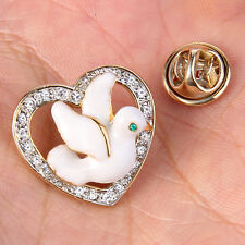 AIMO Flying Bird Animal Heart Love Brooch Pin Clear Austrian Crystal Gold GP