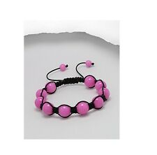 Bright Pink Jade Black Cord 10MM Shamballa Adjustable Bracelet