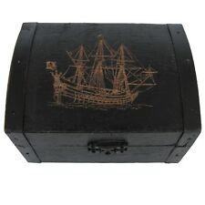 Antique Wooden Pirate Ship Jolly Roger Skull&Crossbones Flag Treasure Chest Box
