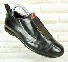 PRADA Black Leather Womens Casual Shoes Trainers Made Italy Size 5.5 UK 38.5 EU