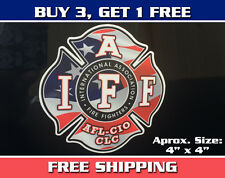 "American Flag 4"" IAFF Sticker - New Style Patriotic Fire Fighter Maltese Cross"