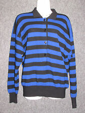 NANCY HELLER Cashmere Blue Black Striped Polo Tunic Sweater SZ XL