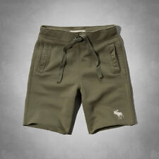 NWT Abercrombie & Fitch Mens Athletic Fleece Shorts Olive Size Small