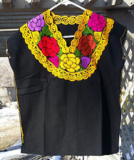 Maya Mexican Blouse Top Shirt Embroidered Flowers Huipil Chiapas Black Sm/Med