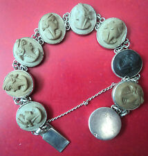 Vintage Italian Silver Lava Cameo Bracelet c.1900/1920 Italy