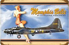 Memphis Belle B-17 Flying Fortress rusted metal sign 460mm x 300mm  (pst 1812)