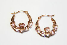 9ct Rose Gold Irish Claddagh Creole Hoop / Loop Earrings