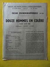 cinéma IDHEC fiche 153 Douze Hommes en Colère de Sidney Lumet par Fr. Norden