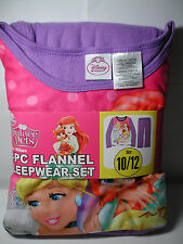 New Girls Disney Princess Palace Pets 2 pc Flannel Pajamas Sleepwear Set 10/12