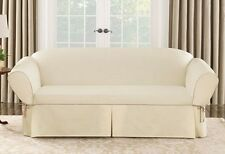 Loveseat Natural Cotton Duck canvas w piping One Piece Slipcover sure fit