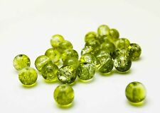 New Loose Charm 30pcs 8mm Round Crackle Floral Glass Crystal Beads Green