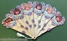 Young Angel Faces Victorian Fan Greeting Card Any Occasion Old Print Factory