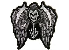 "(L46) REAPER SKULL with WINGS & MIDDLE FINGER 11.6"" x 12"" iron on patch (5144)"