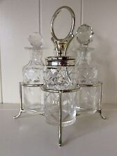 Vintage Victorian Condiment Cruet Set EPNS Vinegar Oil Decanters Mustard Pot