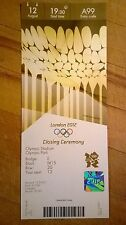 LONDON 2012 TICKET CLOSING CEREMONY COLLECTORS EDITION 12 AUG 1930 £1500 *MINT*