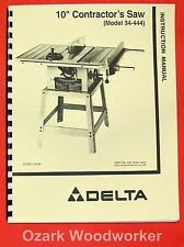 """DELTA 10"""" Contractor's Table Saw 34-444 Instructions & Parts Manual 0829"""
