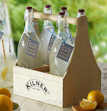 7 Piece Kilner 1 Litre Glass Wine Oil Swing Top Preserving Bottles & Caddy Set