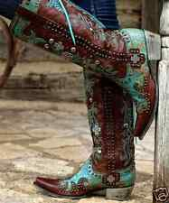 Womens Leather Lace Western Cowboy Boots Double D Ammunition Turquoise 8 DD9001A