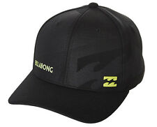 "NEW + TAG BILLABONG MENS BOYS ""SLICE"" S-M CURVED PEAK FLEXFIT CAP HAT BLACK LIME"