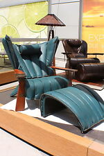 "41"" W club chair blue Italian leather solid exotic polished wood steel frame"